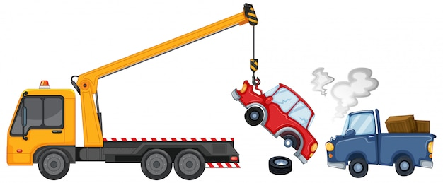 Tow truck lifting damaged cars Free Vector