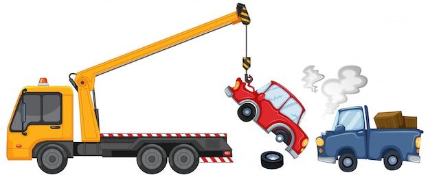 Эвакуатор поднимает поврежденные автомобили Бесплатные векторы