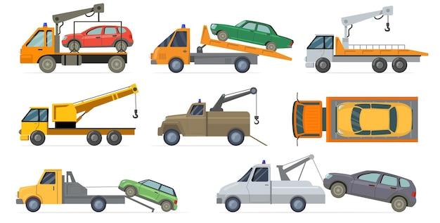 Set carro attrezzi. vettore pesante con gru che traina automobili rotte isolate su priorità bassa bianca. illustrazione piatta Vettore gratuito