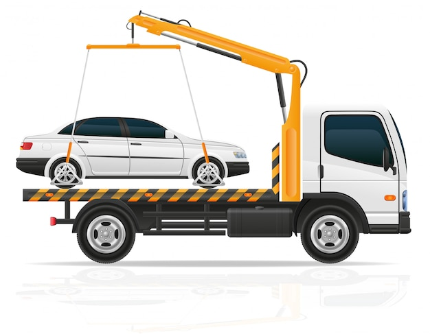Tow truck for transportation faults and emergency cars vector illustration Premium Vector