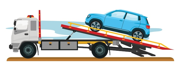 Tow truck with car Premium Vector