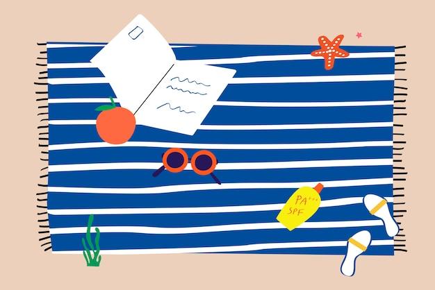 Towel on a beach Free Vector