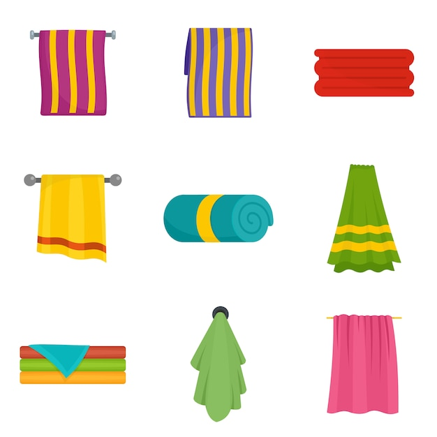 Towel hanging spa bath icons set vector isolated Premium Vector