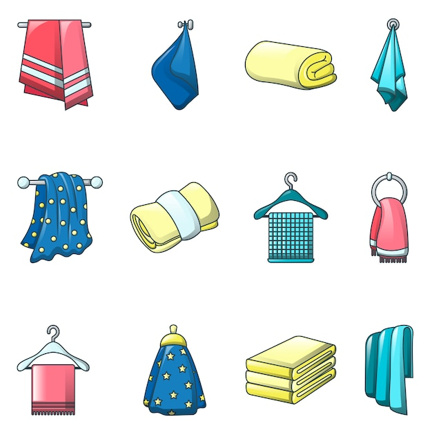Towel hanging spa bath icons set Premium Vector