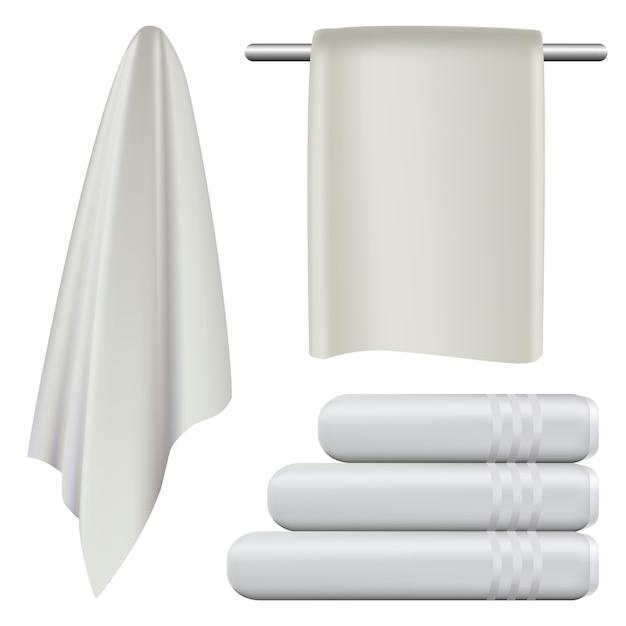 Towel hanging spa bath mockup set Premium Vector