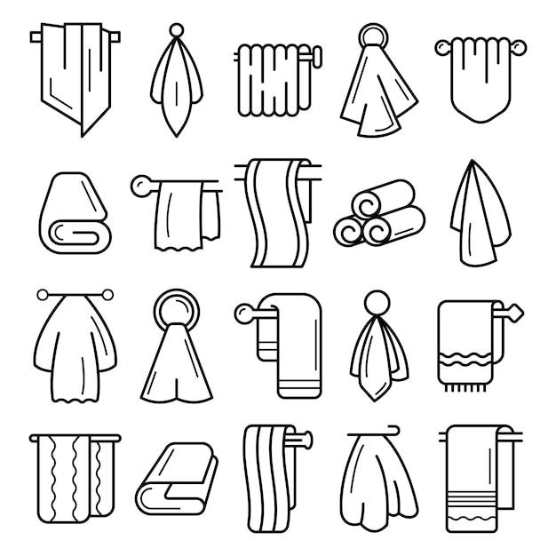 Towel icon set. outline set of towel vector icons Premium Vector