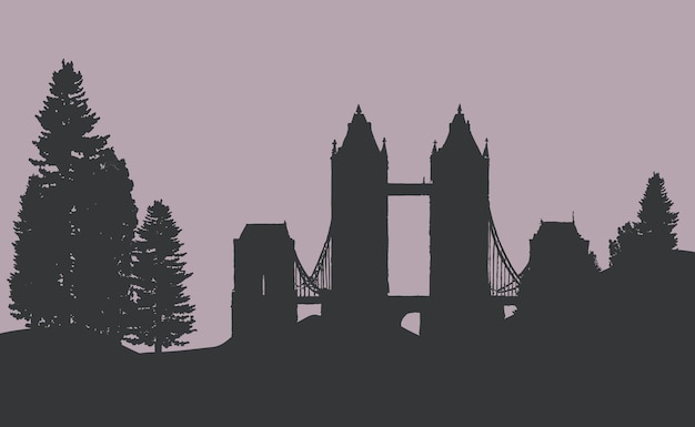 The tower bridge in a forest vector Free Vector
