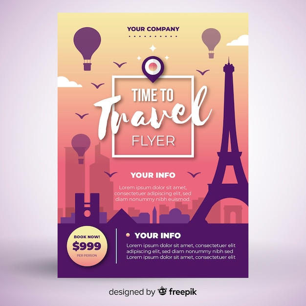 Tower travel poster template Free Vector