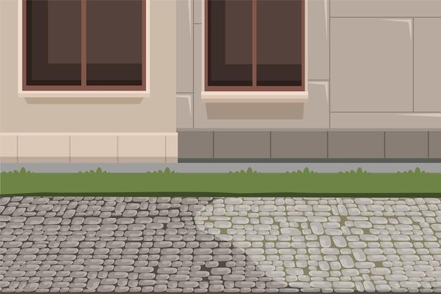 町の建物の外観と舗装の背景、家のファサードの地下室、芝生と石の歩道のイラスト。 Premiumベクター