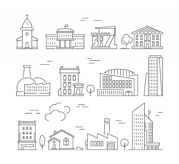 Town buildings icon. urban architecture village houses factory living rooms exterior walls vector linear pictures set Premium Vector