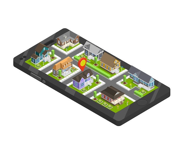 Town buildings smartphone concept Free Vector