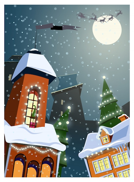Town decorated with lights in winter illustration Free Vector