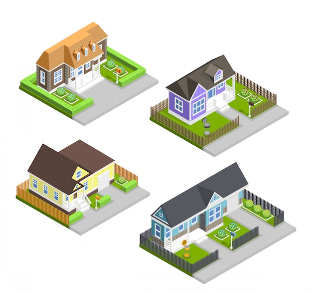 Town houses composition Free Vector