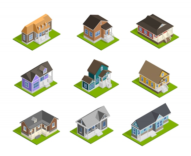 Town houses set Free Vector