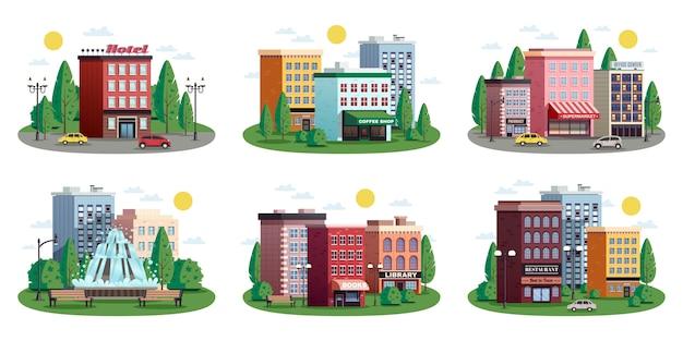 Набор летних композиций town houses Бесплатные векторы