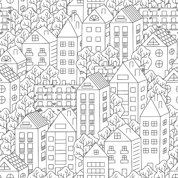 Town houses and trees seamless background Premium Vector