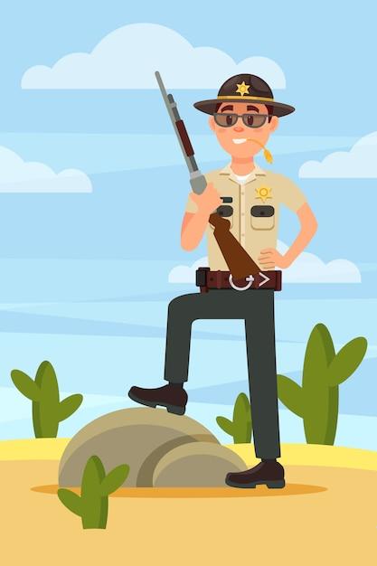 Городской мужчина шериф полицейский персонаж в официальной форме, стоя с винтовкой в пустыне иллюстрация Premium векторы