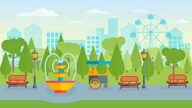 Town park flat composition Free Vector