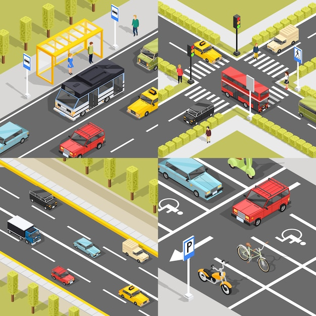 Town traffic square banners Free Vector