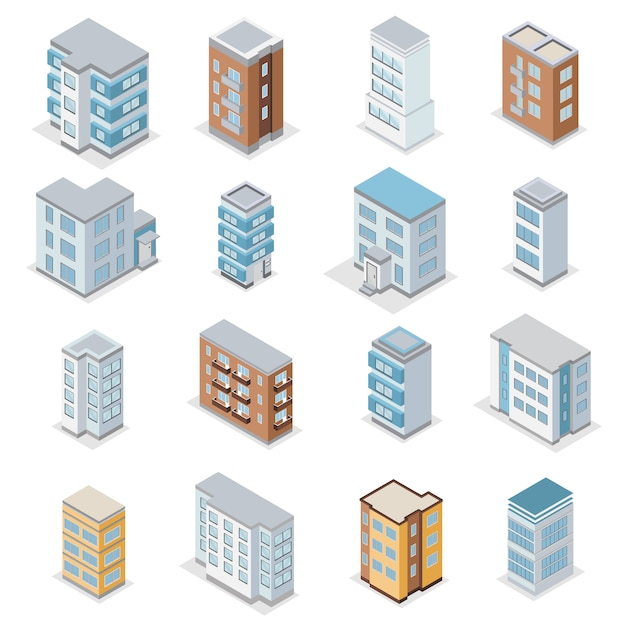 Townhouse building icons set with city landscape isometric isolated  illustration Free Vector