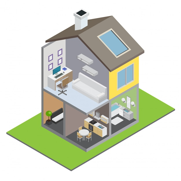 Townhouse building with town house interior and furniture isometric Free Vector