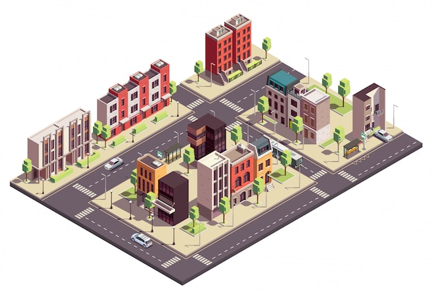 Townhouse buildings isometric composition with urban landscape and streets with city blocks living houses and cars Free Vector