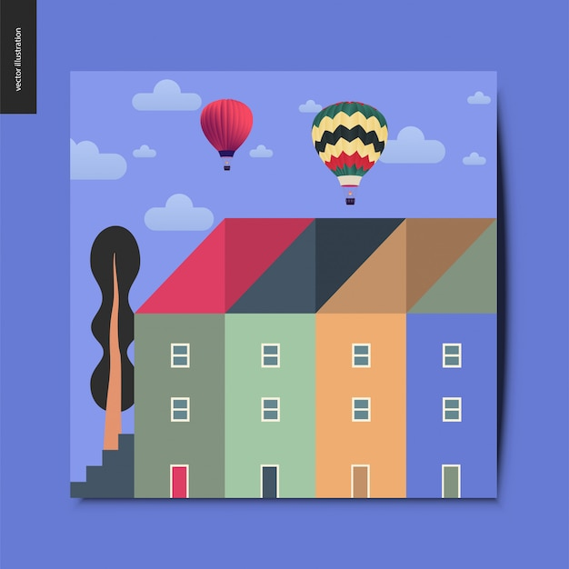Townhouses with a tall tree next to them, and hot air balloons above them Premium Vector