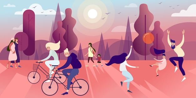 Townsfolk in the summer park play ball, walk and ride bicycles Premium Vector