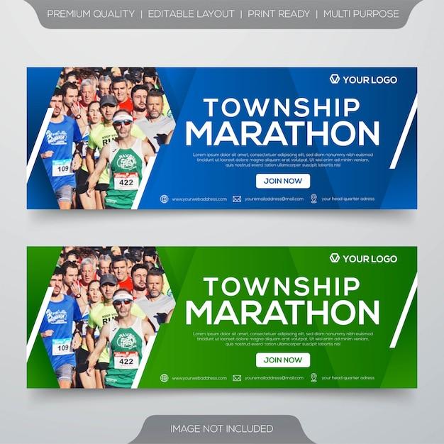 Township marathon banner template Premium Vector