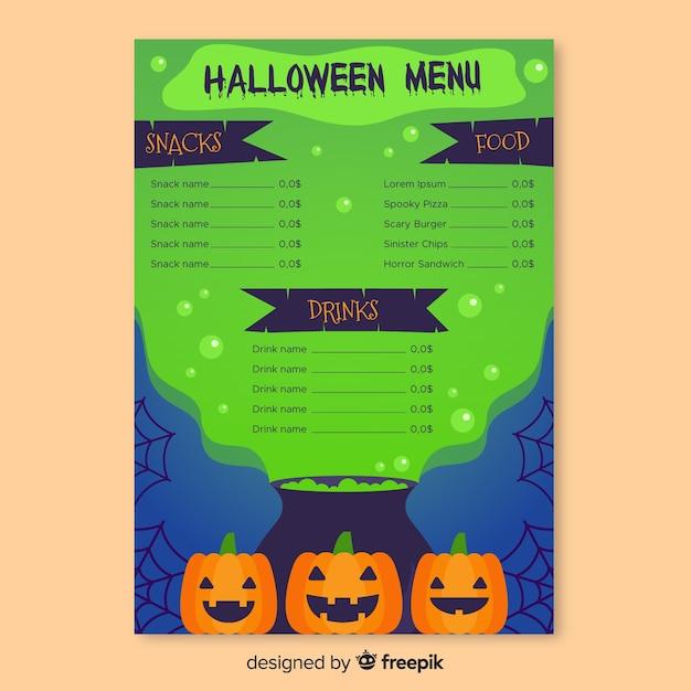 Toxic green slime halloween menu template Free Vector