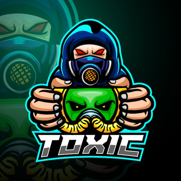 有毒な男のマスコットeスポーツのロゴデザイン Premiumベクター