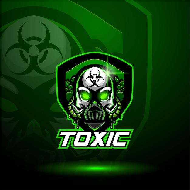 Toxic skull mascot logo Premium Vector