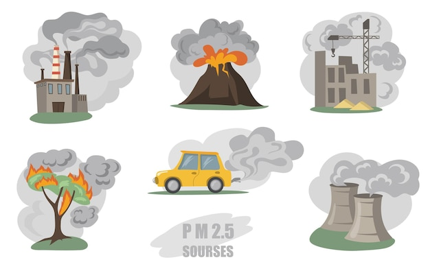 Toxic smokes set. fumes from factory pipes, volcano, car in city, outdoor fog from wild fires isolated on white.  flat illustration Free Vector