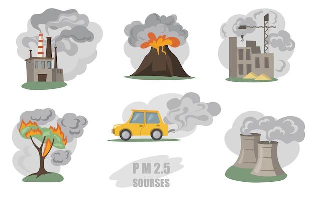 有毒な煙がセットされています。工場のパイプ、火山、市内の車からの煙、白で隔離された山火事からの屋外の霧。フラットイラスト 無料ベクター