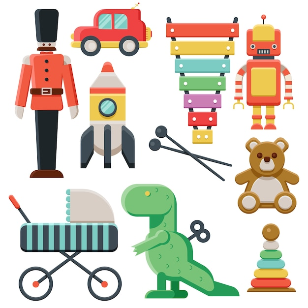 Toy collection for children on christmas eve Free Vector