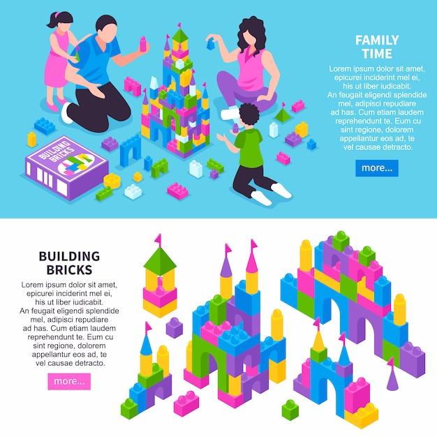 Bandiere isometriche costruttore di giocattoli Vettore gratuito