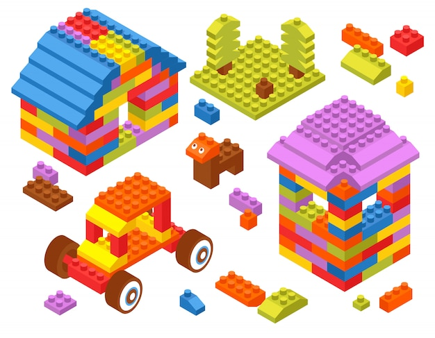Toy constructor isometric blocks Free Vector