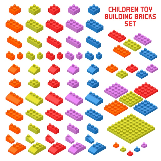 Toy constructor isometric pieces Free Vector