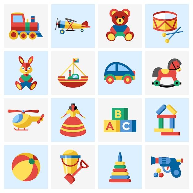 Raccolta di elementi di giocattoli Vettore gratuito