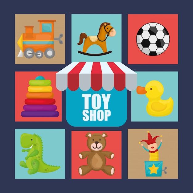 Toy shop design Premium Vector