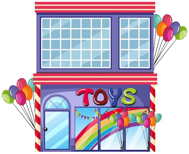 A toy shop on white background Free Vector