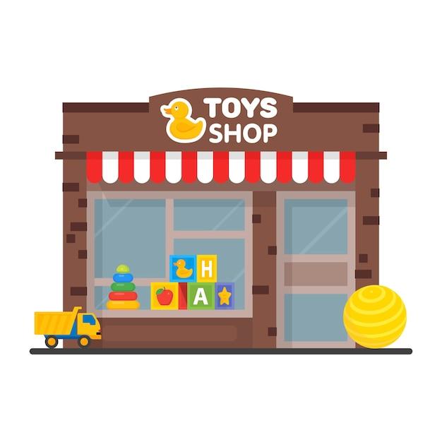 おもちゃ屋さんのウィンドウディスプレイ、外装、子供のおもちゃのイラスト。 Premiumベクター