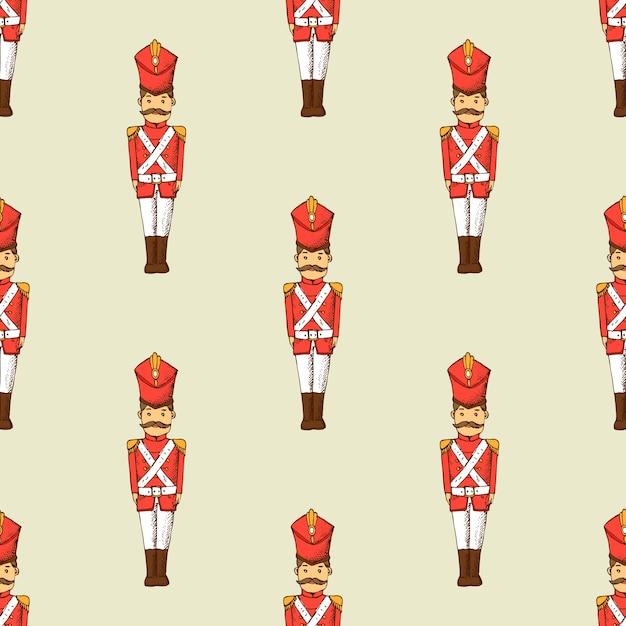 おもちゃの兵隊のシームレスなパターン。キャラクターと子供の壁紙。 Premiumベクター