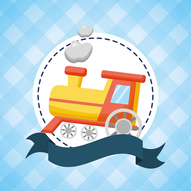 Toy train for baby shower Free Vector