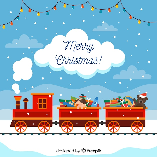 Toy train christmas background Free Vector
