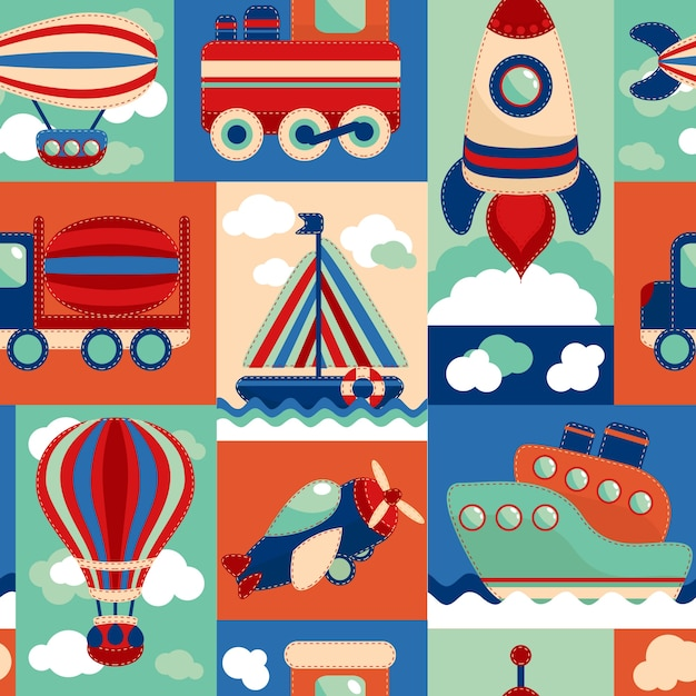 Toy transport cartoon seamless pattern with airplane aerostat sail yacht vector illustration Free Vector