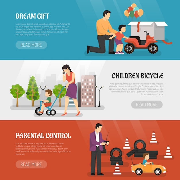 Toy vehicles banners set Free Vector