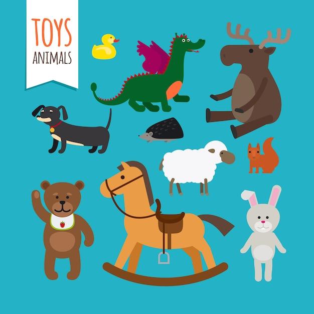 Toys animals vector Premium Vector