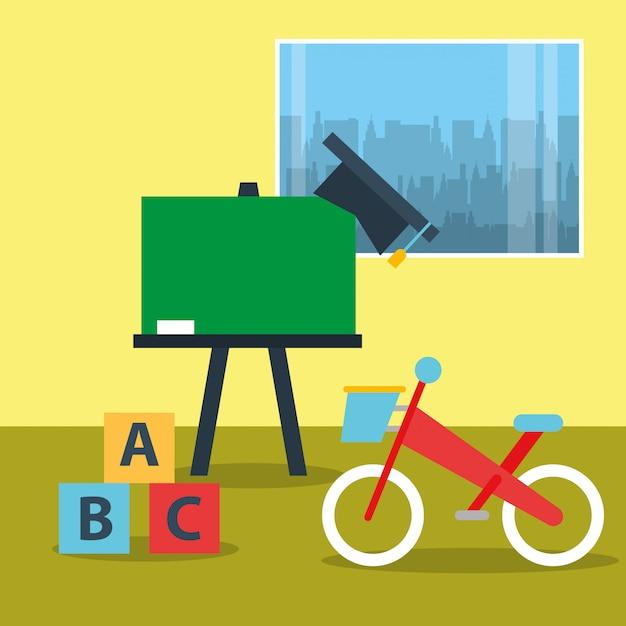 Toys bike blocks alphabet and chalkboard in classroom Premium Vector