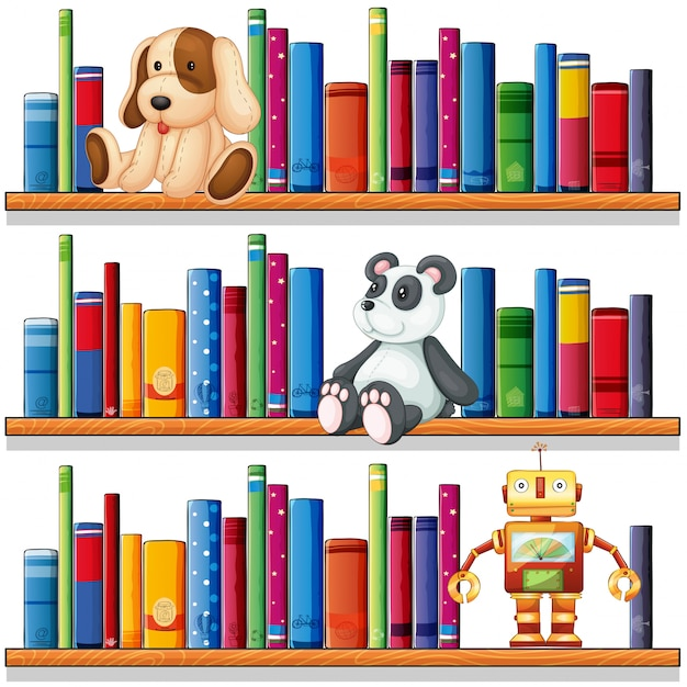 Toys and books on the shelves Free Vector